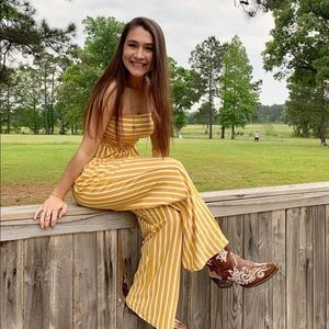 Yellow and white striped jumpsuit